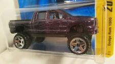 Hot Wheels 2007 New Models #5 DODGE RAM 1500 purple with flames  crew cab lifted