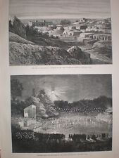 Electrical lights on the lakes at Alexandra Palace London 1880 old print