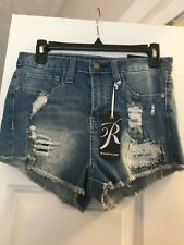 Rampage Nikki Extreme High Rise Junior Womens Shorts Distressed Size 9 New w/tag