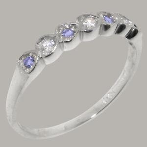 Solid 18ct White Gold Natural Diamond & Tanzanite Womens Eternity Ring