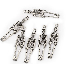 20pcs Antique Silver Skeleton Skull Charms Pendants for Jewelry Making 39x9mm
