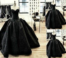 Gothic Black Lace Evening Wedding Quinceanera Dresses Formal Prom Party Gowns+