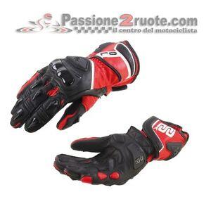 Leather Gloves Motorcycle OJ Shout Black Red Yamaha