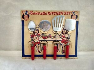 1940-50's VINTAGE CHILDS BAKERETTE KITCHEN UTENCILS SET ON DISPLAY CARD