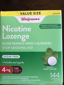 Walgreens Nicotine Lozenges 4 MG 144 Count Mint Compare Nicorette