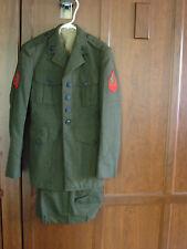 USMC MARINES OFFICER WOOL DRESS UNIFORM GREEN KHAKI SHADE 2234 & 2122 SMALL MENS