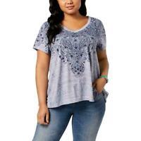 Style & Co Womens 0X Top Blue Printed Short Sleeve T Shirt Tee Plus 0X