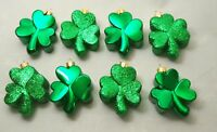 Shamrock Lucky Clover Ornament Set 8 St. Patrick's Day Irish Dark Green Decor