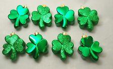 Shamrock Irish Dark Green Lucky 3 Clover Ornament Set 8 St. Patricks Day