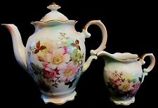 Schumann Arzberg Wild Rose Footed Teapot & Creamer Satin Finish Gold Germany