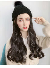 Lady's Knit Winter Warm Hat Long Wavy Hair Hat Wig Casual Knitted Beanie Ski Cap