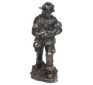 "Fireman Carrying Child Detailed Bronze Figurine Miniature Statue 11""H New in Box"