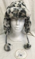 NEW Pottery Barn Faux Fur Trapper/Bomber Hat Grey Cheetah Winter Cap PBTeen 1Sz
