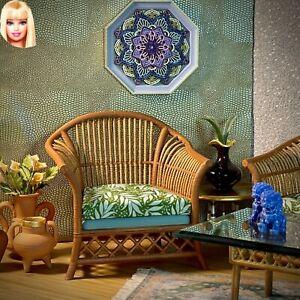 1:6 Dollhouse miniature cane rattan armchair tropical green - Barbie scale