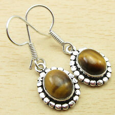 Earrings, 925 Silver Plated Sparkling TIGER'S EYE JEWEL Jewelry 1 3/8 Inches NEW