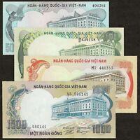 SOUTH VIETNAM 50 100 500 1000 DONG SET 4 PCS 1972 P-30 31 33 34 AU-UNC