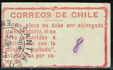 CHILE 1908 POSTAGE DUE OFFICIAL ADHESIVE LABEL STAMP MULTA USED #5 scarce item!!