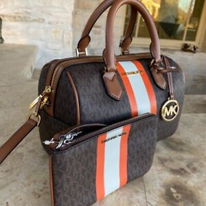 NWT Michael Kors Bedford Center Stripe MK Jacqaurd Bag/Wallet Options signature