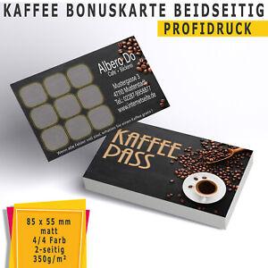 Kaffee Bonuskarten Treuekarten Rabattkarten kaffeepass Bonuskarte