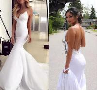 White/Ivory Lace Satin Mermaid Wedding Dresses Spaghetti Straps Bridal Gowns