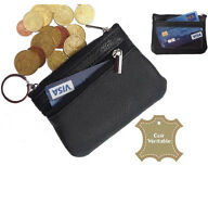 Porte monnaie carte bourse homme / femme noir CUIR VERITABLE