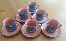 Set of 6 Pretty Polka Dot Whittard of Chelsea Espresso Cups Demi Tasses