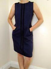 Boden Dress Size 14 Blue Black British Moon Tweed Wool Sleeveless Shift