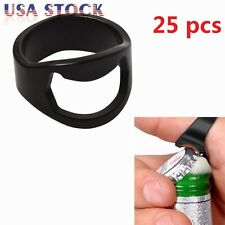 25 Pcs Stainless Steel Finger Thumb Ring Bottle Open Opener Bar Beer Tool Black
