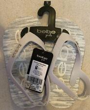 NWT Little Girls Bebe Gray/White Signature Flip Flop Sandals Size 9