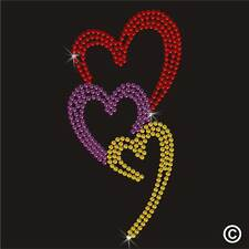 Heart Rhinestone Diamante Transfer Iron On Hotfix Gem Motif Patch Crystal