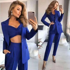 Womens Fashion Trousers Blazer Suit Jacket Vest Pants Office Ol Party Set 3Pcs