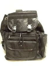 Black leather unisex BACKPACK-Muliti pockets-Nice bag!!-New!