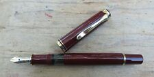 New Pelikan M600 Old Style Souveran Burgundy Fountain Pen - BROAD 18k nib