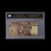 World Gold Banknote Chile 2000 Dollar Commemorative Currency Paper Money Bill