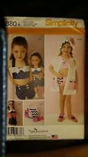 "SIMPLICITY CHILDS SWIMSUIT COVER UP HAT & PLAY SUIT 18"" DOLL PATTERN 1380 SZ 3-8"