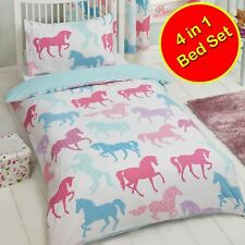 PATCHWORK PONIES HORSES TODDLER 4 IN 1 BEDDING SET - DUVET COVERS, QUILT, PILLOW