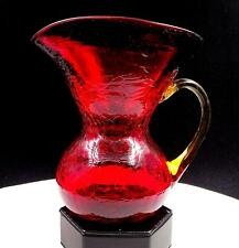 """ART GLASS HAND BLOWER RED CRACKLE GLASS AMBER HANDLE 6"""" WIDE MOUTH CREAM PITCHER"""