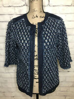 Chicos Womens Denim Perforated Jean Jacket Sz 0 Blue 3/4 Sleeve Open Front