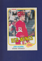 Jim Korn RC 1981-82 O-PEE-CHEE OPC Hockey #91 (NM) Detroit Red Wings