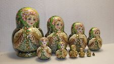 """10 dolls, Russian Matryoshka , by the author, height 5.9 """" (15 см)"""