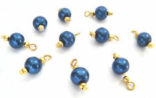 10 ROUND 8MM BLUE GOLD GLASS PEARL BEADS CHARMS DANGLE PENDANT CHARM BRACELET