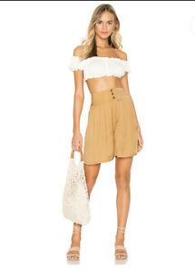 NWT Free People Brittany Long Beach Shorts $88 Large High Waist Gold