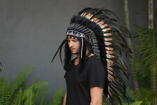 Indian Chief, Native American Head dress, Hat Feather  Warbonnet Costume Boho