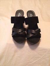 Kim Rogers Alissy Sz 11M Black Wedge Heels w/ Wide Elastic Strap Across Shoe!!