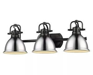Golden Lighting 3602-BA3 BLK-AB Duncan - 3 Light Bath Vanity Matte Black&Chrome