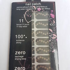 16 Black Nail Patch Foils with Gold Daisy Design