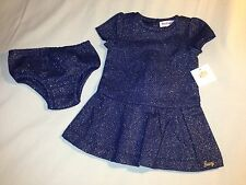 NWT 18M JUICY COUTURE 2 PIECE NAVY BLUE AND GOLD DRESS WITH BLOOMERS 2 PIECE SET