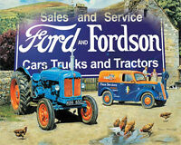 Ford and Fordson Cars Trucks  advert VINTAGE ENAMEL METAL TIN SIGN WALL PLAQUE