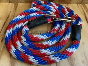 """STD. SNAP DOG LEASH -ROPE-L/XL-up to 120 lb-RED/WHITE & BLUE -5/8"""" X 6' NEW(440)"""