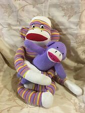 YOGA Purple Striped Sock Monkey with Baby Plush Toy